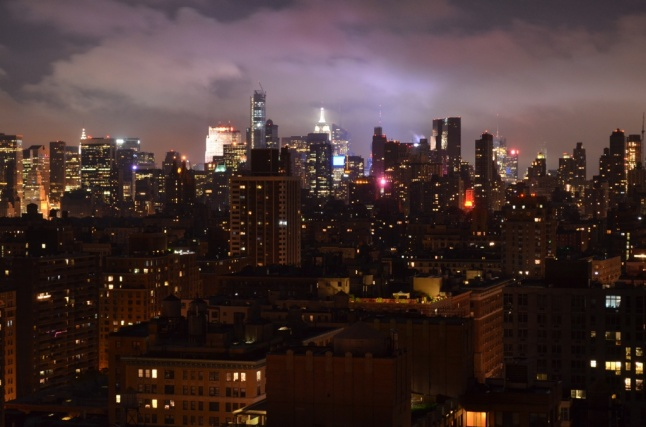 Low Clouds Over Midtown Manhattan - At Night