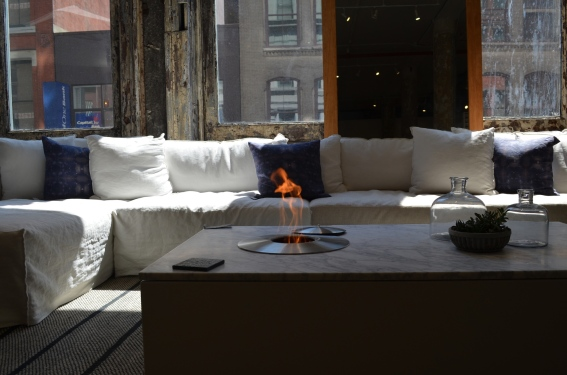 Table with built-in fire pit feature