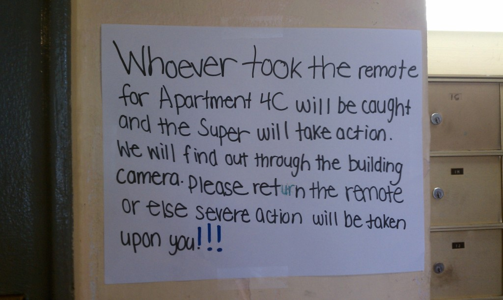 Type of note seen in apartment buildings all over NYC.