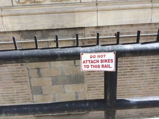 Do Not Attach Bikes To This Rail