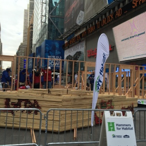 House being erected in Times Square
