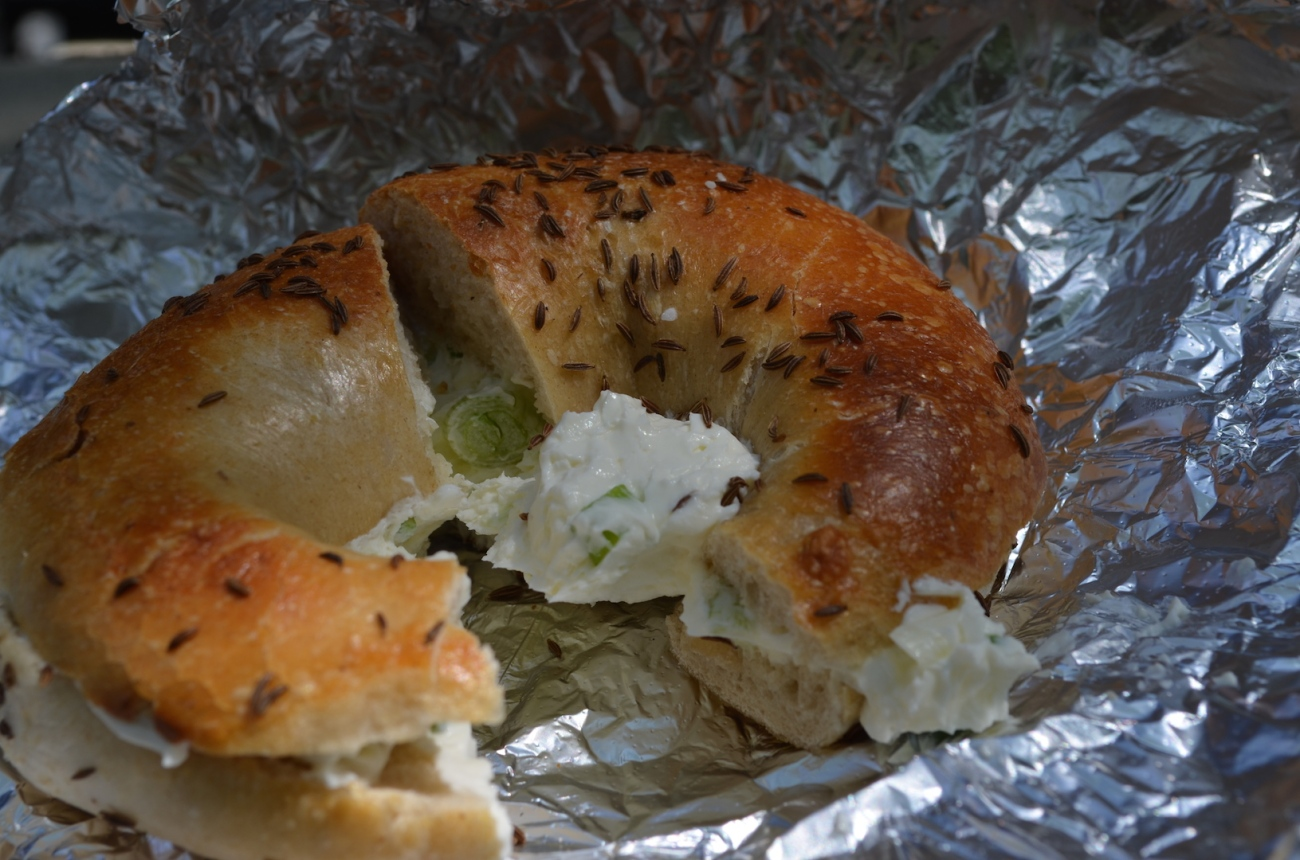 Caraway Seed Bagel with Scallion Cream Cheese