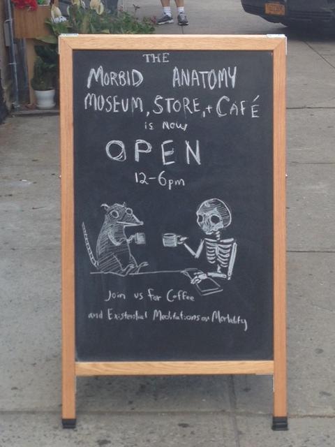 Coffee Sign At the Morbid Anatomy Museum In Gowanus Brooklyn