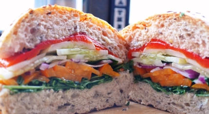 Summer Vegetarian Sandwich On A Multigrain Roll