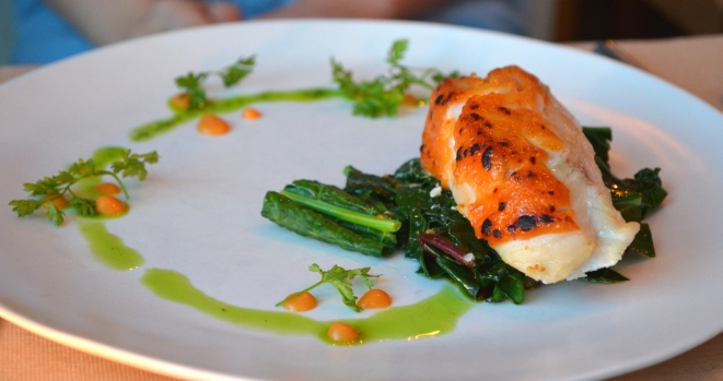Roasted Hake with Miso-Yuzu Glaze, Sauteed Market Greens