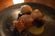 Toasted Almond Cake with Lemon Curd, Blackberry Compote, Lemon Verbena Cream
