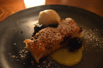 Toasted Almond Cake with Lemon Curd, Blackberry Compote, Lemon Verbena Cream