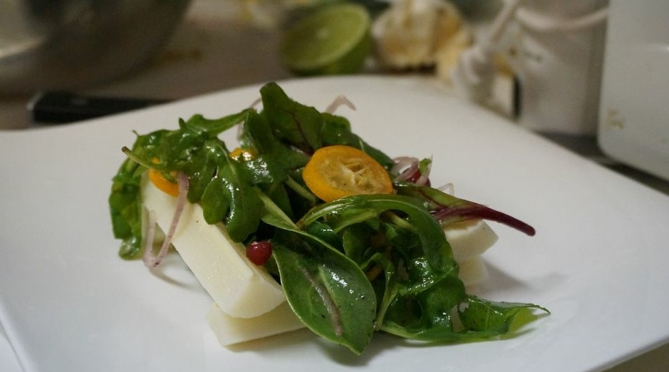 Baby Mixed Green Salad with Kumquat and Pomegranate Seeds