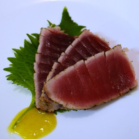 Pepper Crusted Seared Ahi Tuna Steak with Shisho Leaf and Cape Gooseberry Puree