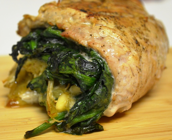Spinach, Pine Nut and Enoki Mushroom Stuffed Pork Tenderloin