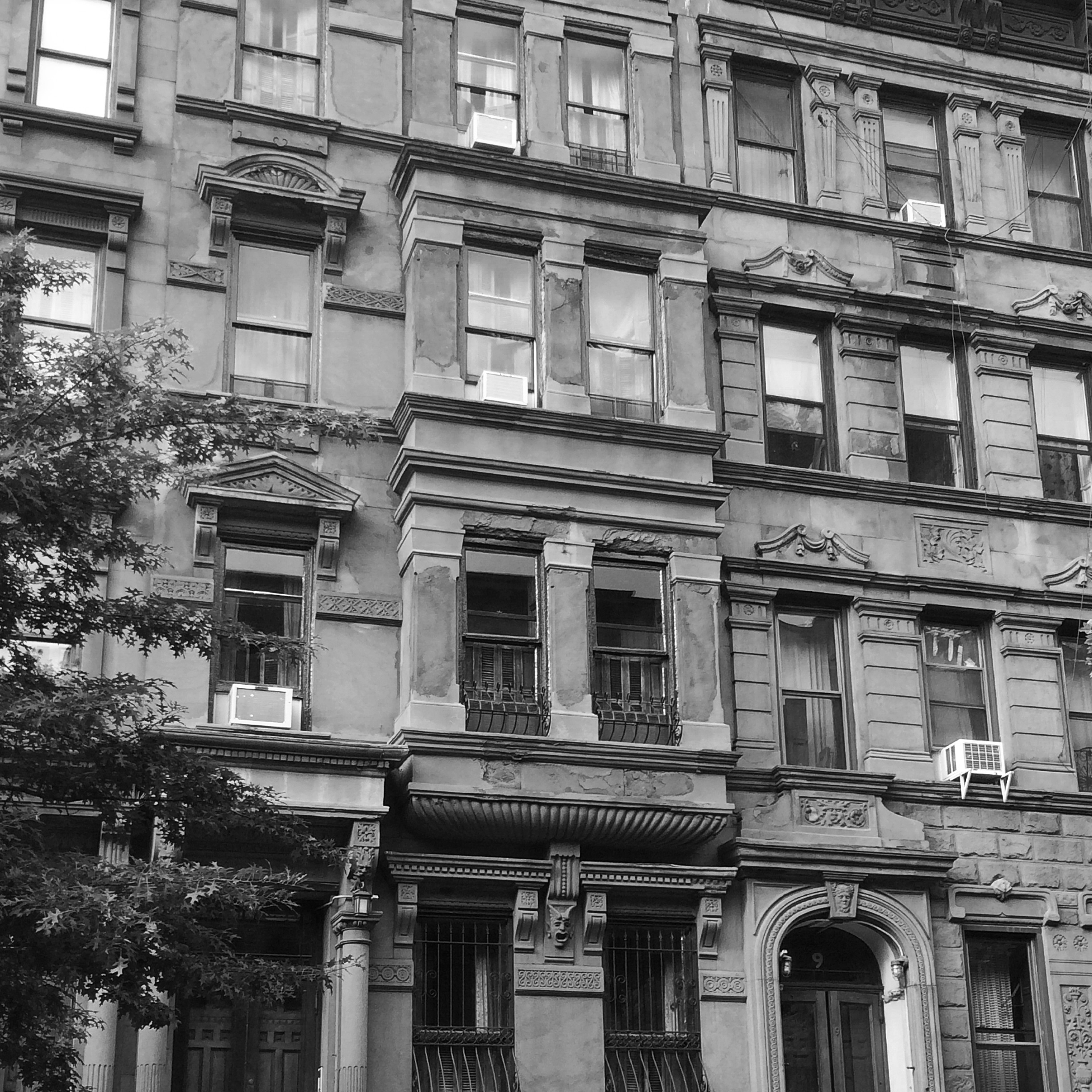 New York City Apartment Buildings: Black And White New York
