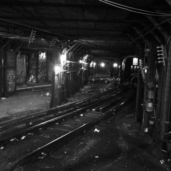 Subway Train Tracks Under Times Square