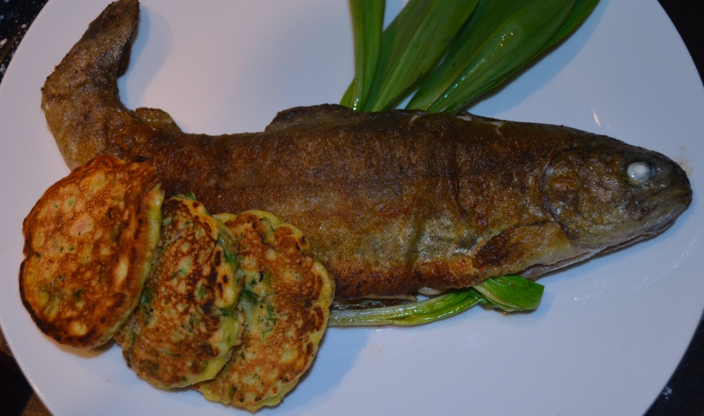 Pan Fried Rainbow Trout Stuffed with Ramps and Served with Ramp Fritters