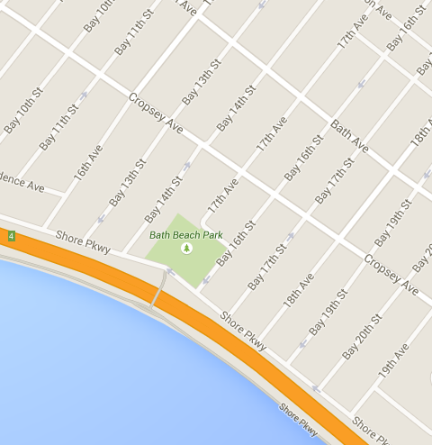 Google Map of Brooklyn Bike Ride Path