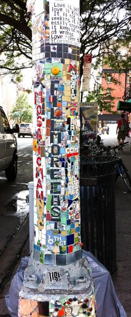 Mosaic lamppost 2 East Village New York City