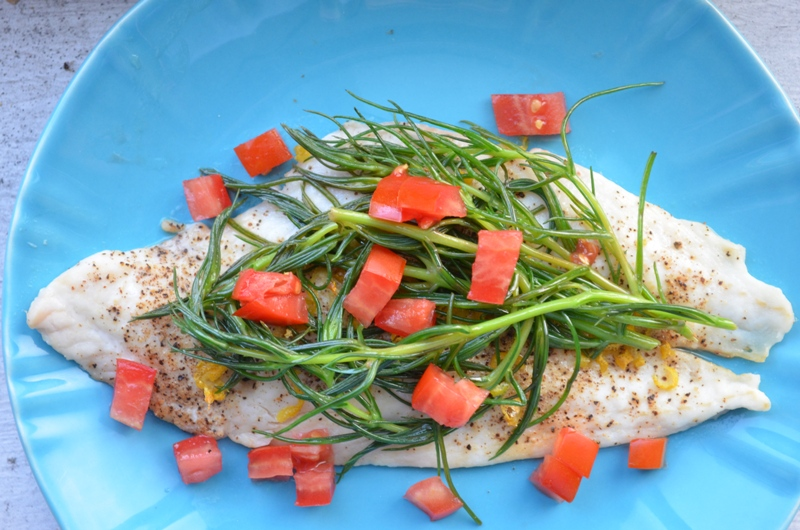 Baked Flounder with Sauteed Agretti