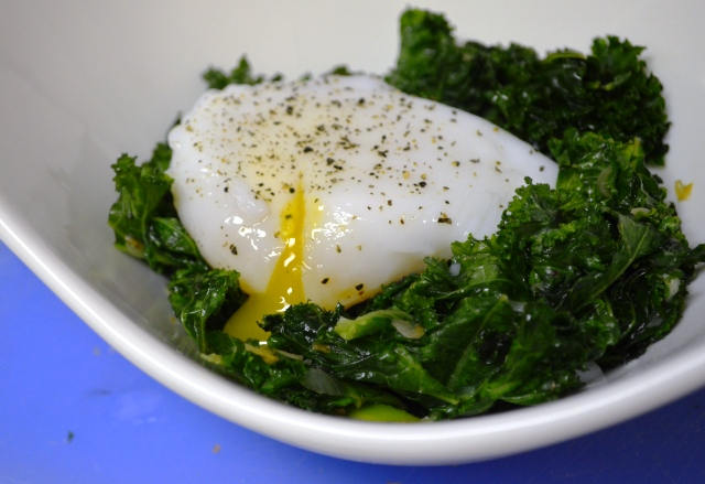 Wilted Kale Salad with Poached Duck Egg