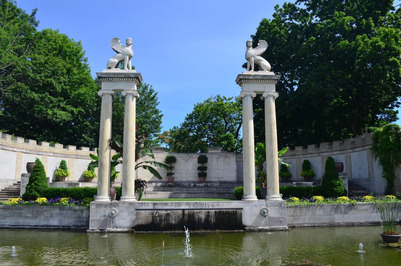 Persian Sculptures at Untermyer Garden