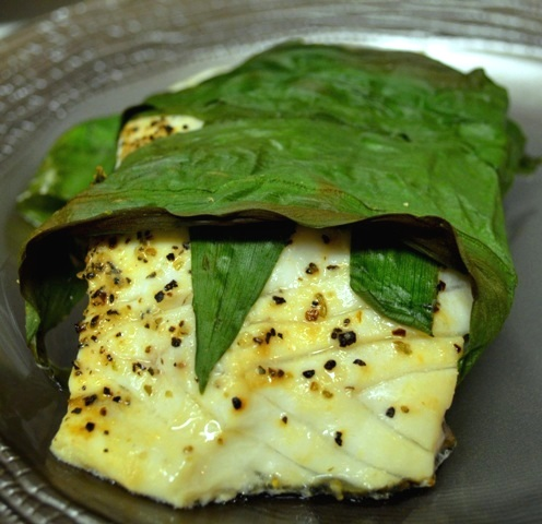 Baked Wild Striped Bass with Ramps