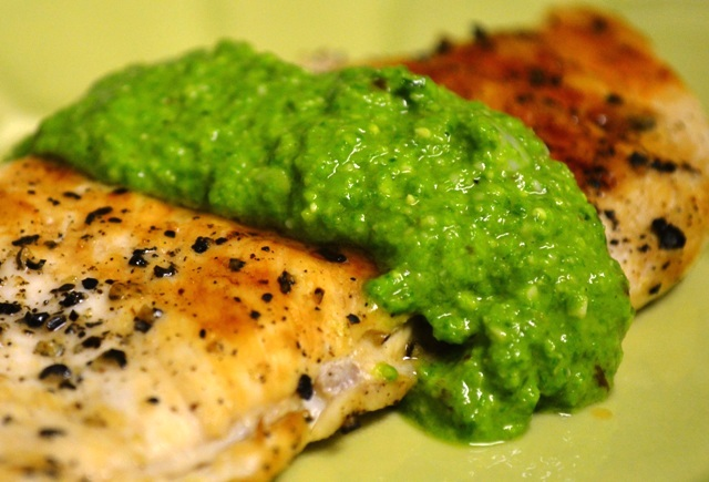 Grilled Chicken with Ramp Pesto