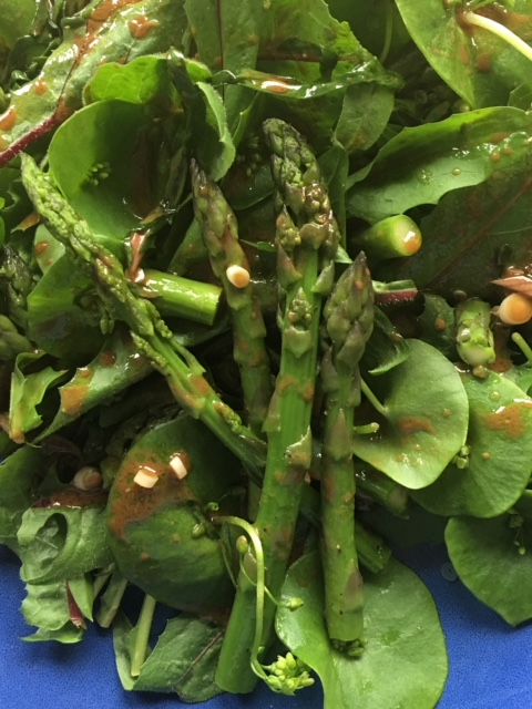 Spring Salad with Claytonia, Asparagus and Ramp Dressing