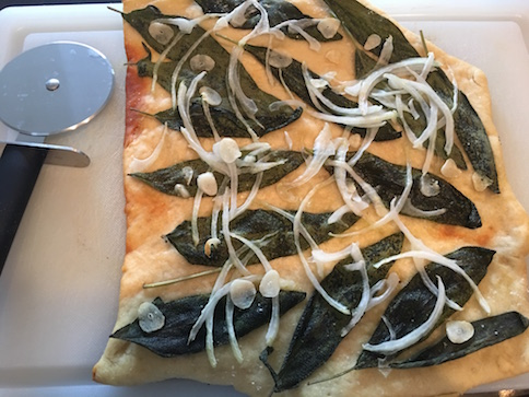 Sourdough Flatbread Pizza with Fresh Sage